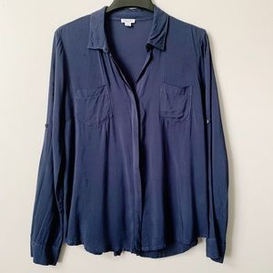 Splendid Blue Button Front Pocketed Top